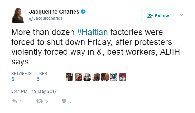 Miami Herald reporter @JacquelineCharles reports false info.