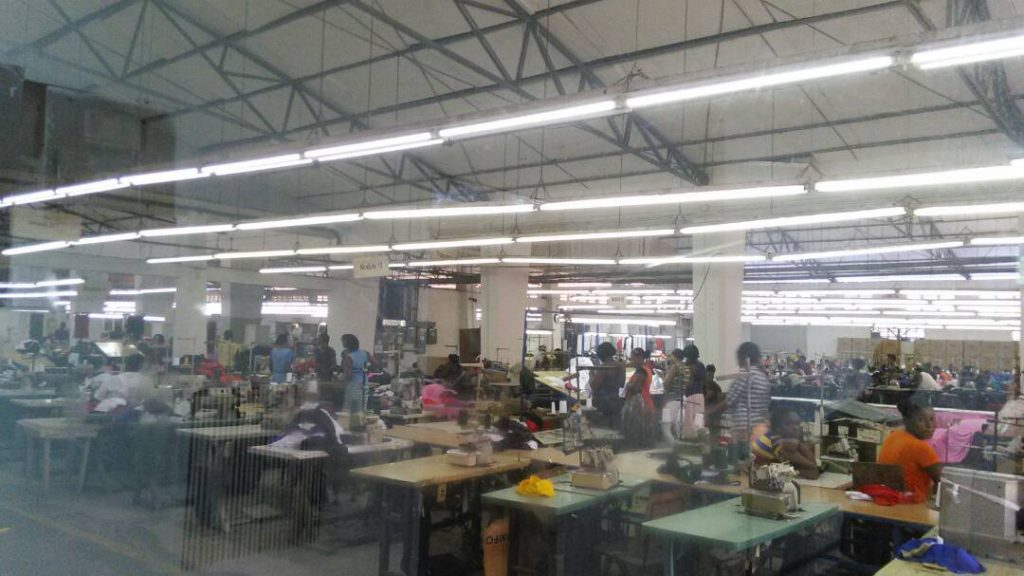 Work stoppage inside Fairway Apparel factory.