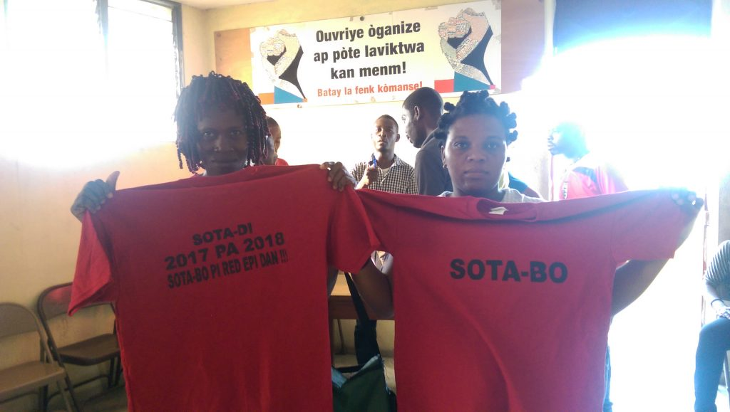 SOTA workers at the Port Au Prince Batay Ouvriye office.